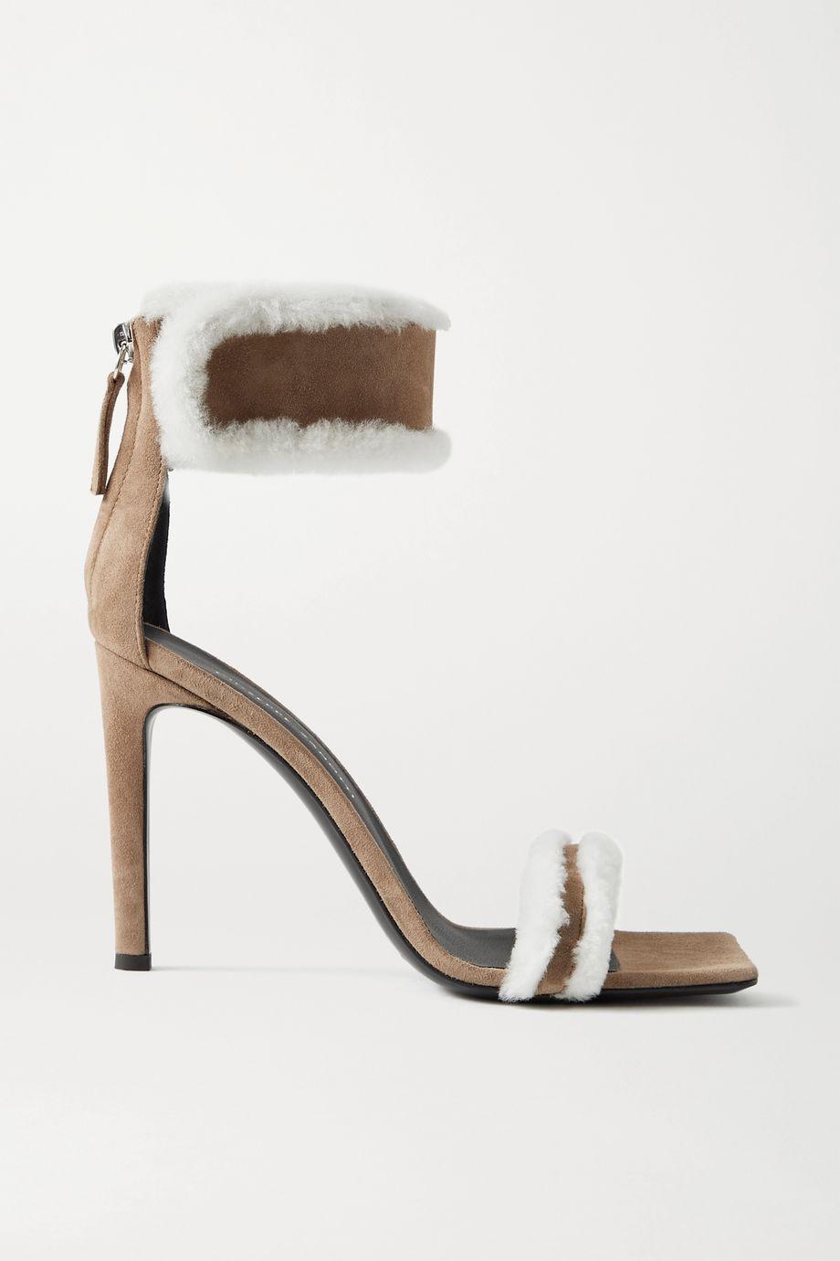 Giuseppe Zanotti Kanda shearling-trimmed suede sandals