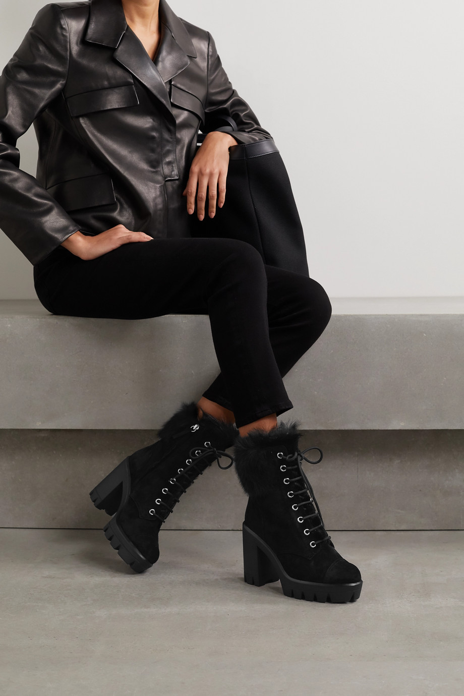 Giuseppe Zanotti Shearling-trimmed suede platform ankle boots