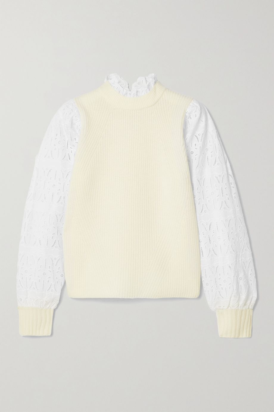 Sea Ribbed wool and broderie anglaise cotton sweater