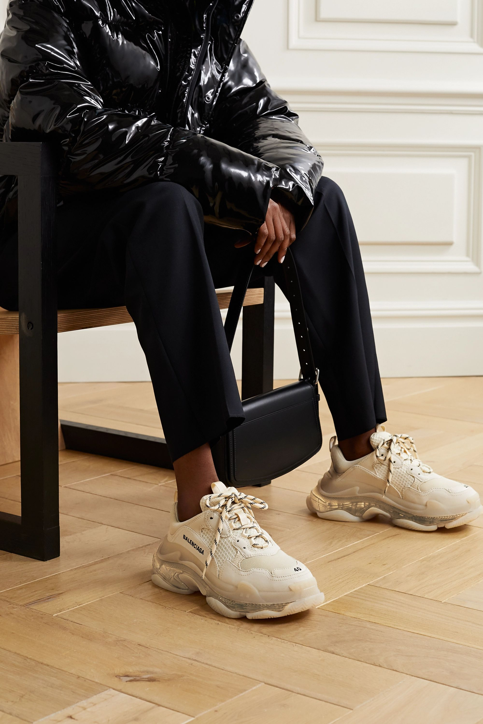 Balenciaga Triple S Clear Sole logo-embroidered leather, nubuck and mesh sneakers