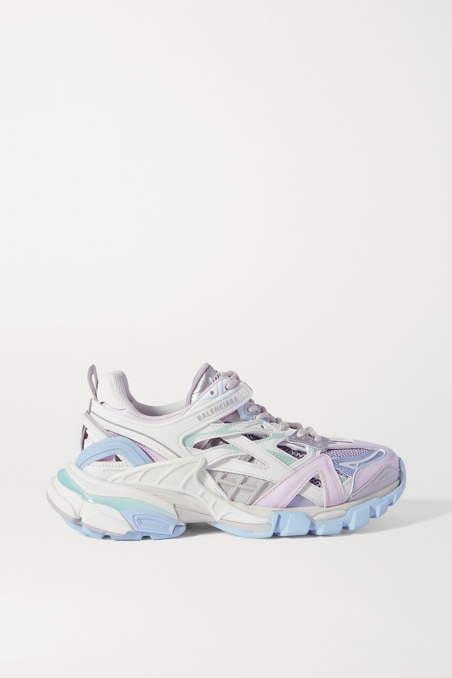 Balenciaga Track 2 品牌标志细节金属感皮革网眼橡胶运动鞋