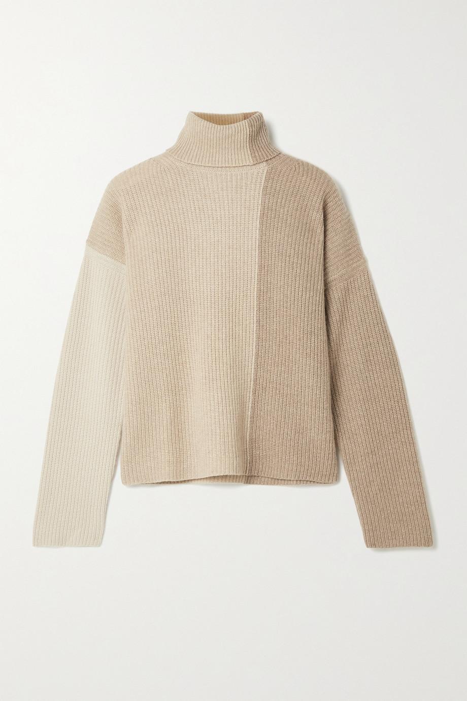 La Ligne Color-block ribbed cashmere turtleneck sweater