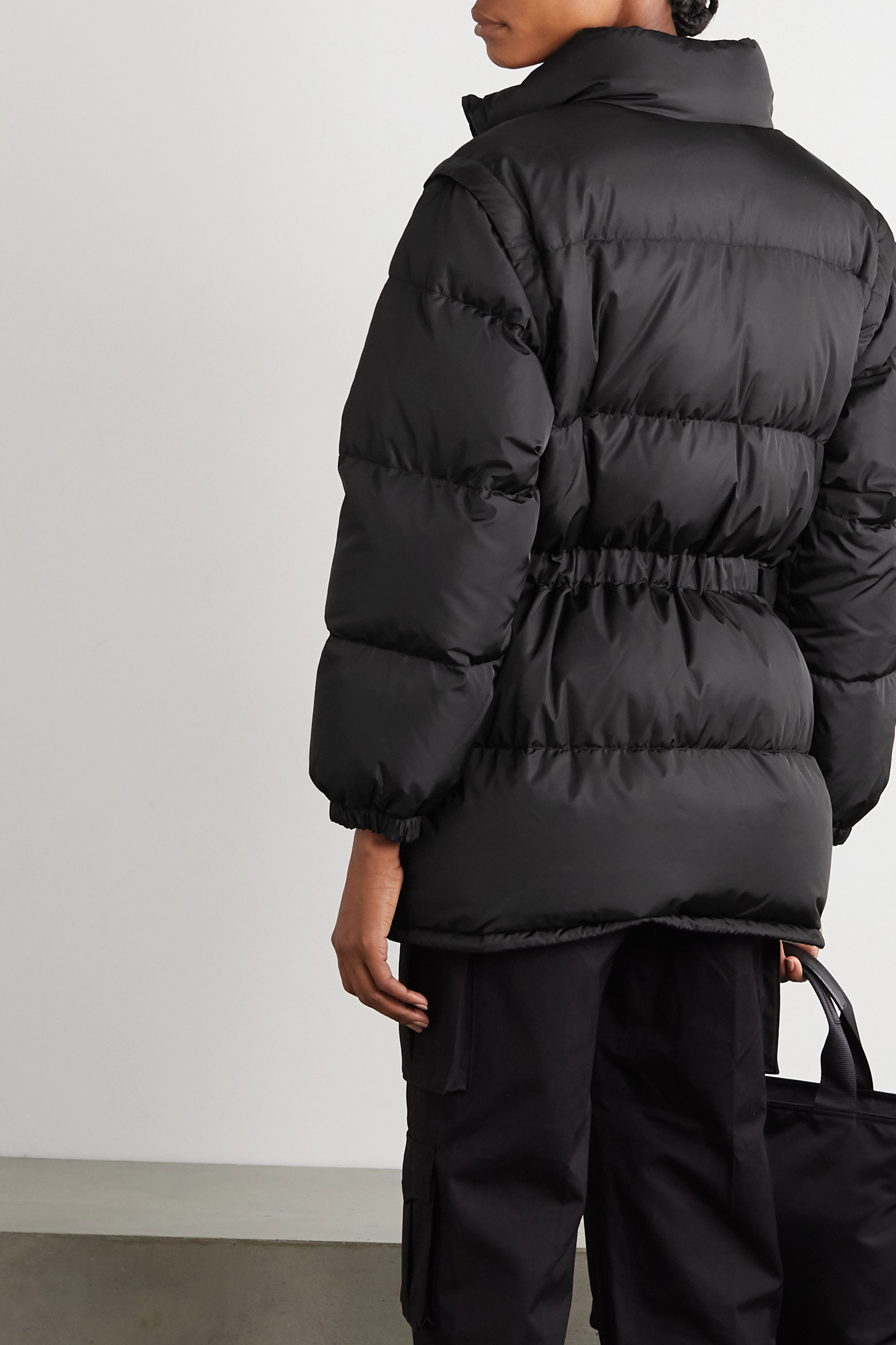 Prada Convertible belted quilted shell down jacket