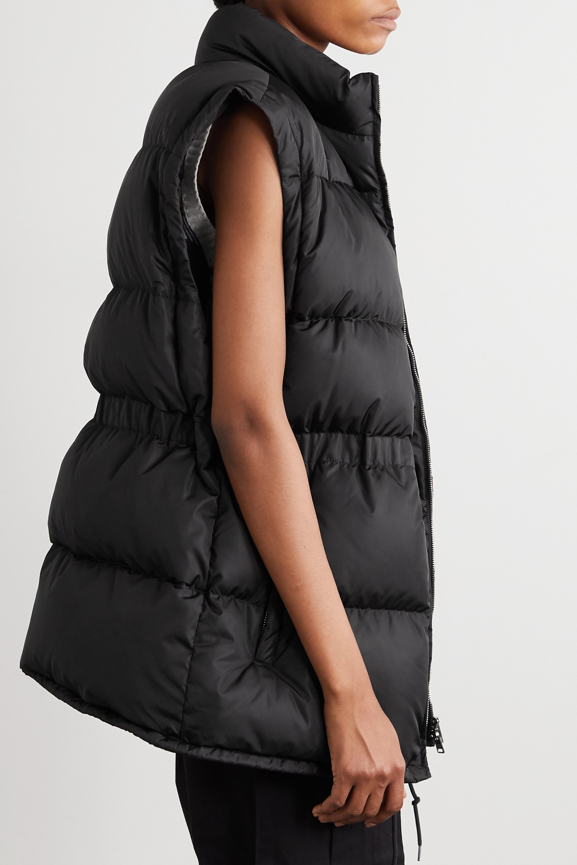 Black Convertible Belted Quilted Shell Down Jacket   Prada