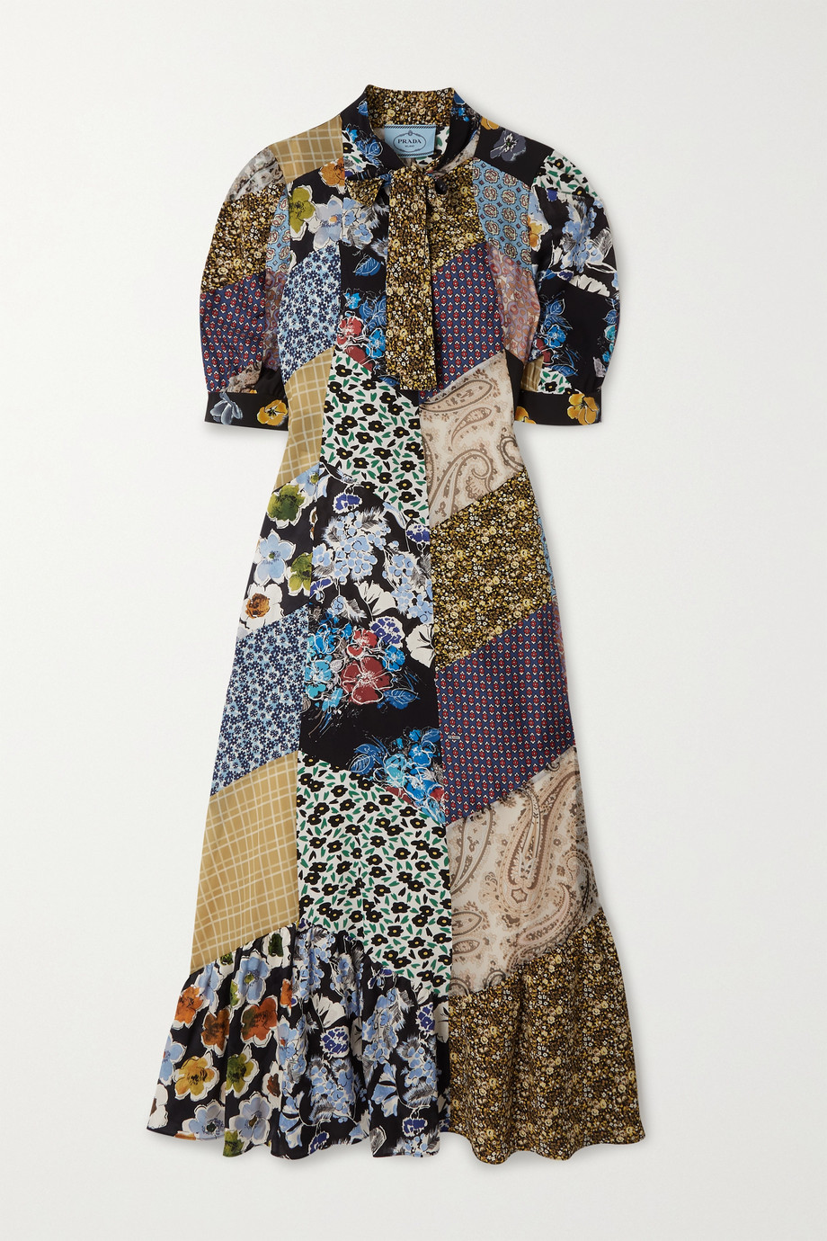 Prada Pussy-bow patchwork printed silk-blend crepe midi dress