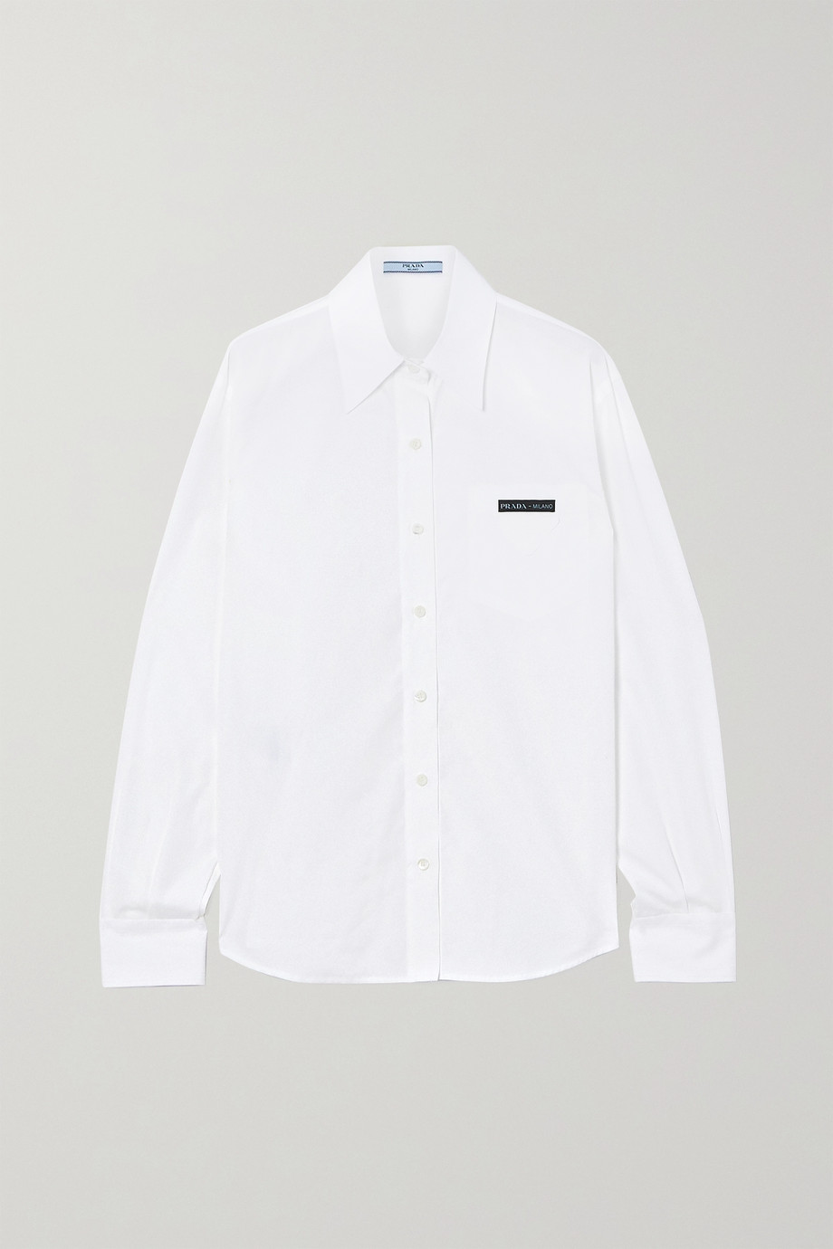 Prada Appliquéd cotton-poplin shirt