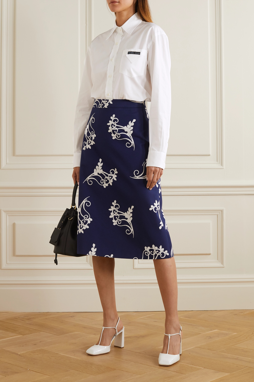 Prada Appliquéd cotton-poplin shirt