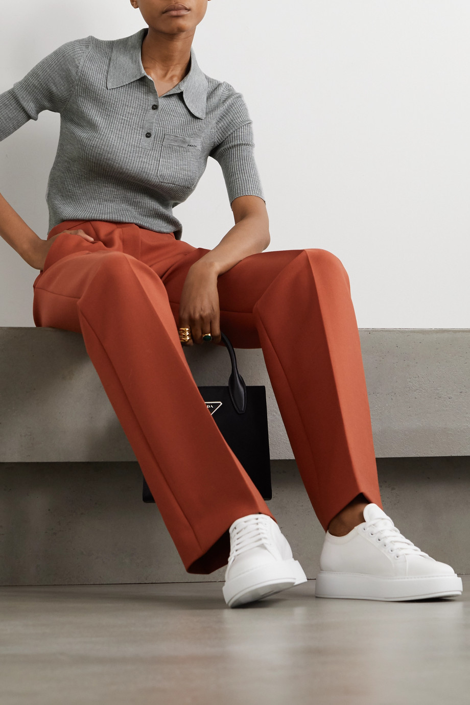 Prada Ribbed wool-blend polo shirt
