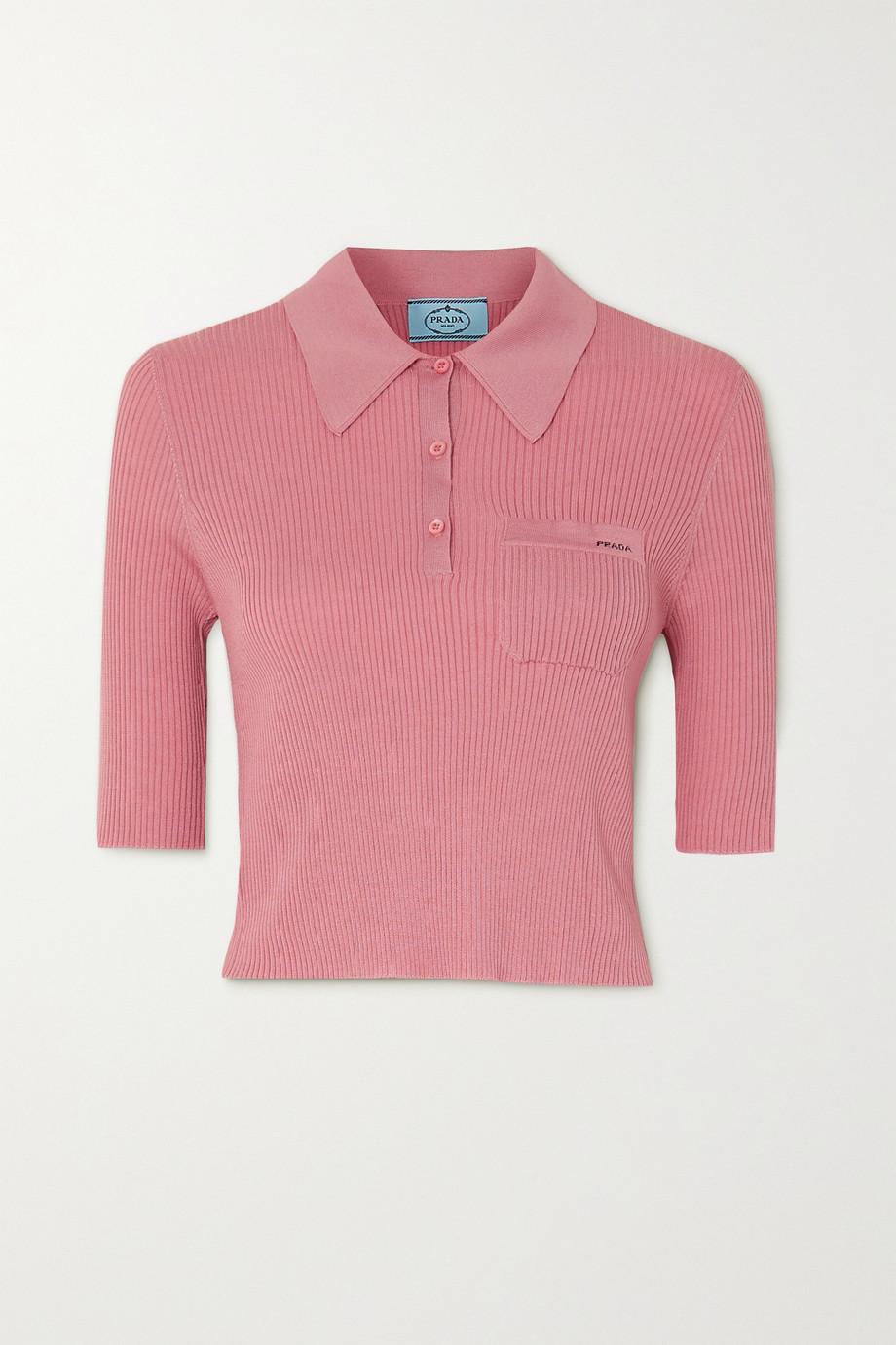 Prada Cropped ribbed wool-blend polo shirt