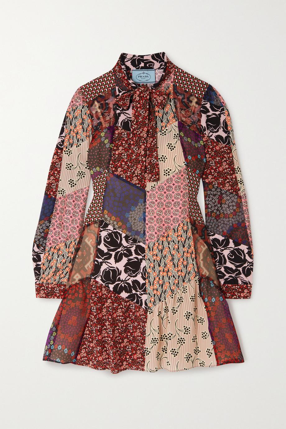 Prada Pussy-bow patchwork printed silk-blend crepe mini dress