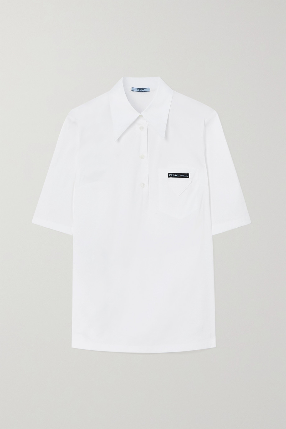 Prada Logo-appliquéd cotton-blend poplin shirt