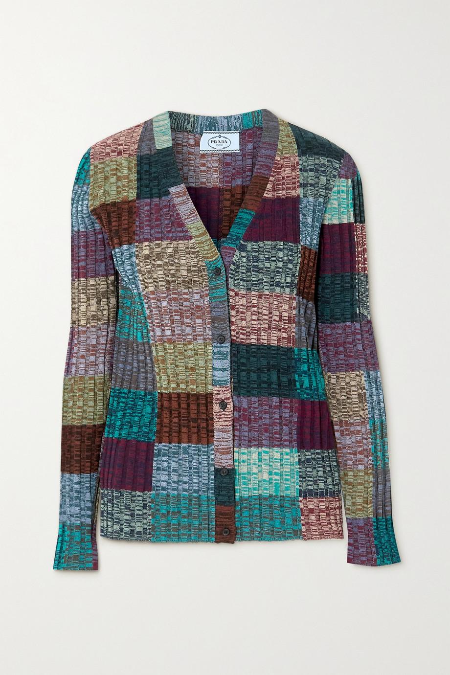 Prada Ribbed patchwork wool and silk-blend cardigan