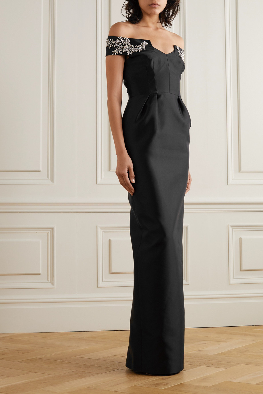 Prada Off-the-shoulder crystal-embellished wool and silk-blend satin gown