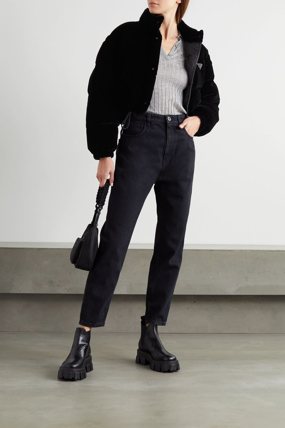 Prada Convertible cropped appliquéd quilted velvet down jacket