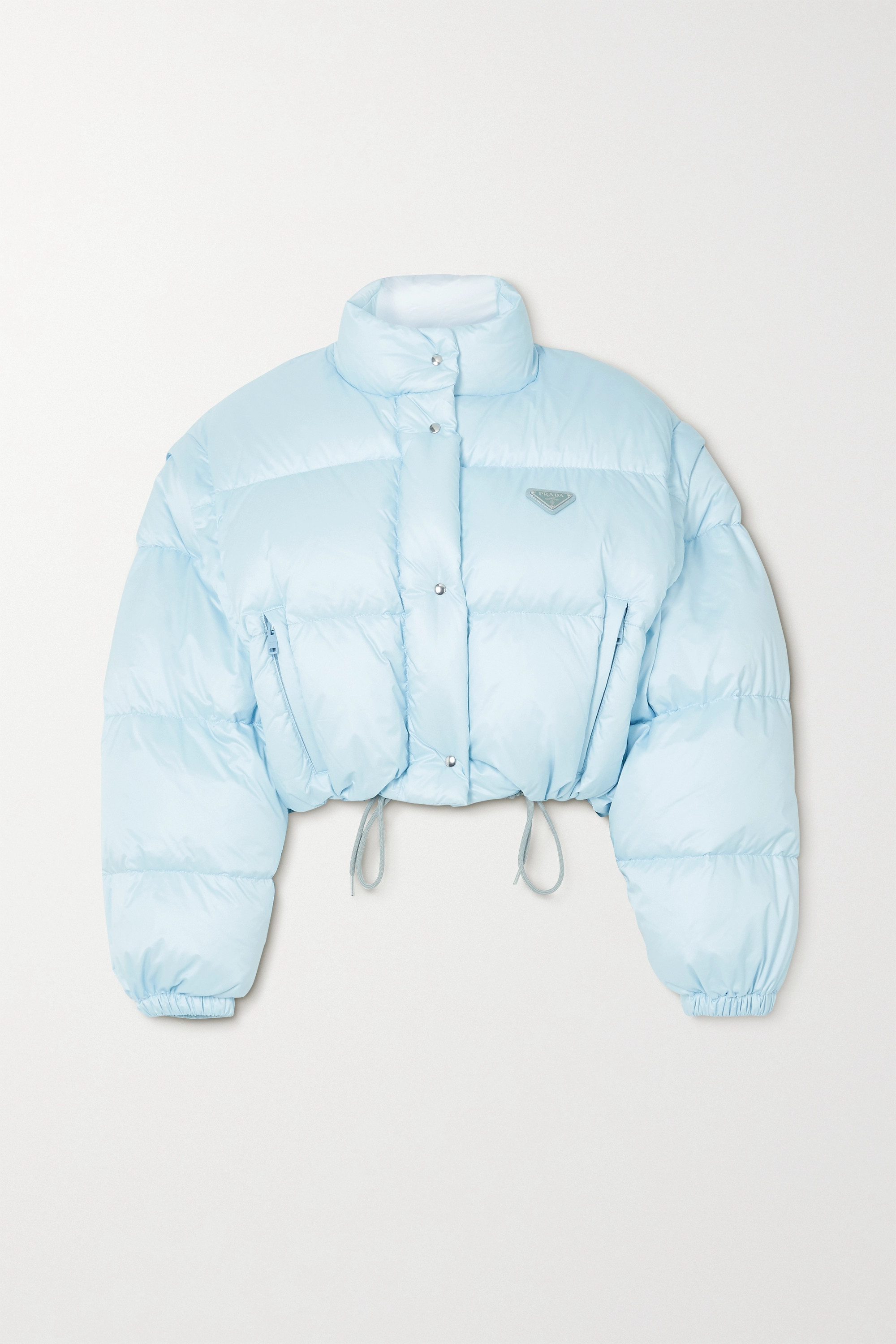 Prada Cropped convertible appliquéd quilted nylon down jacket