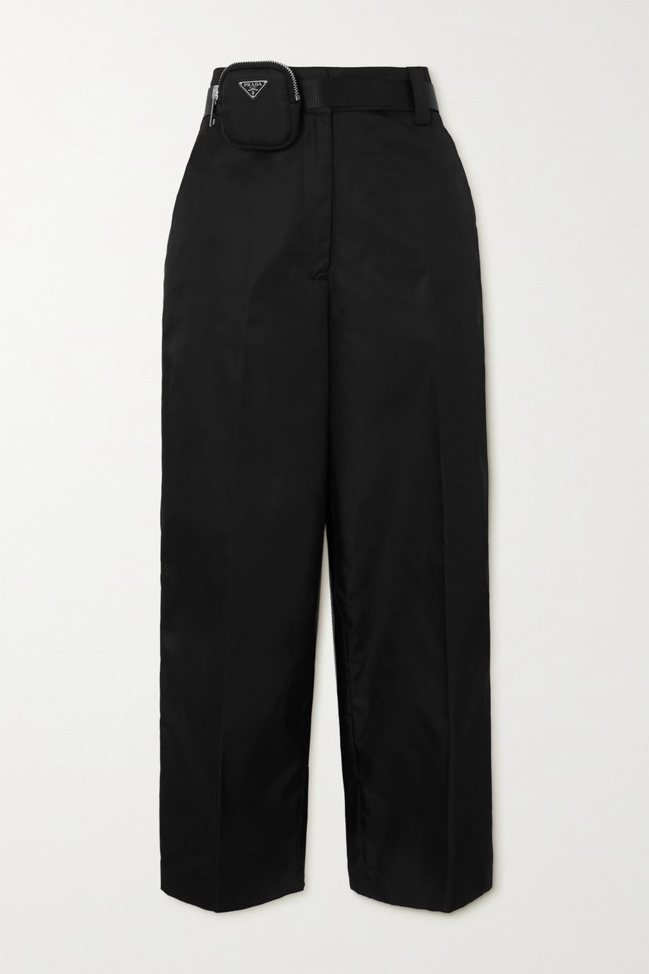 Prada Embellished belted nylon straight-leg pants