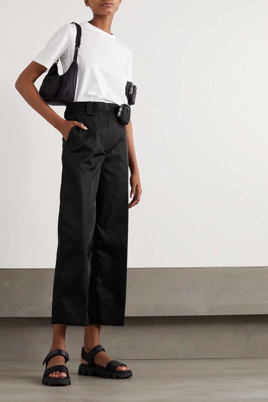 Prada Verzierte Hose mit geradem Bein aus Nylon mit Gürtel