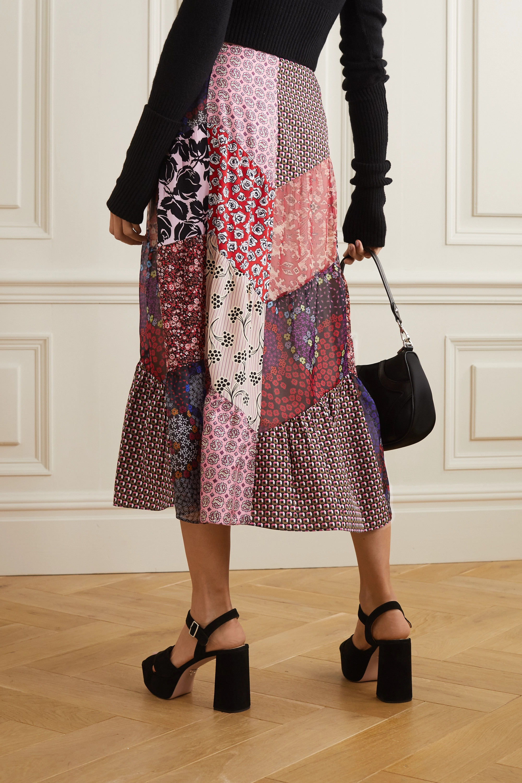 Prada Patchwork printed silk-blend crepe midi skirt