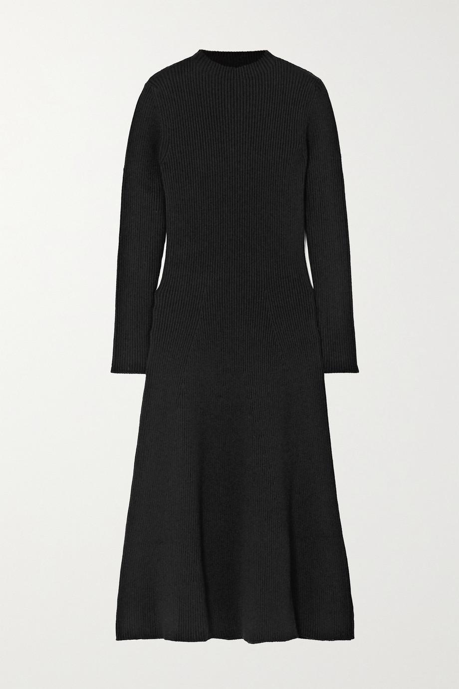 Prada Ribbed wool-blend midi dress
