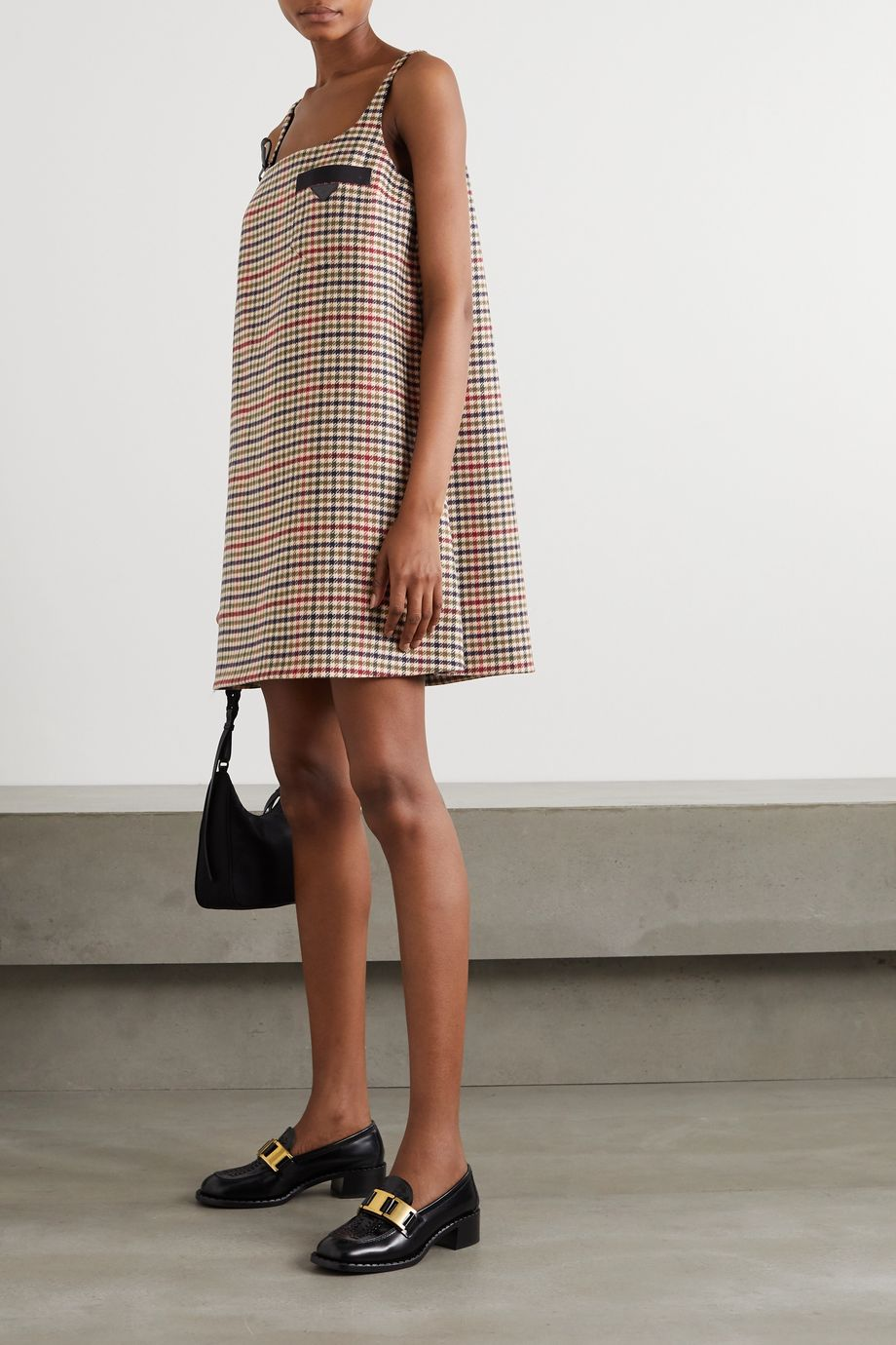 Prada Leather-trimmed houndstooth wool and cashmere-blend mini dress