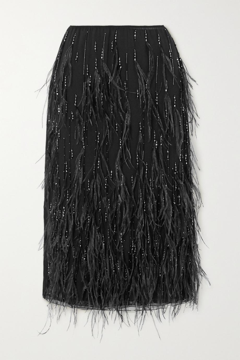 Prada Feather and bead-embellished crinkled-chiffon midi skirt
