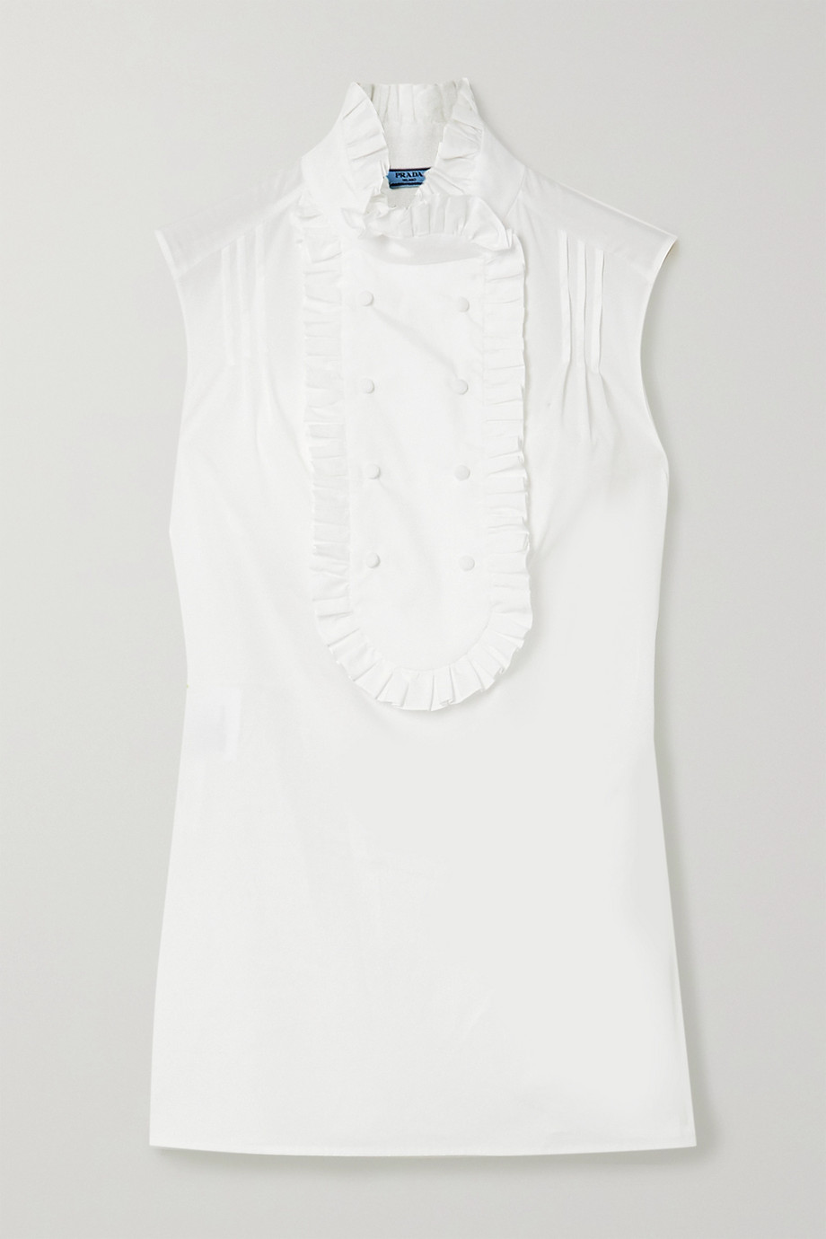 Prada Ruffled cotton-poplin blouse