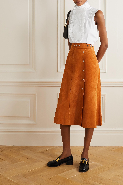 Prada Ruffled cotton-poplin blouse