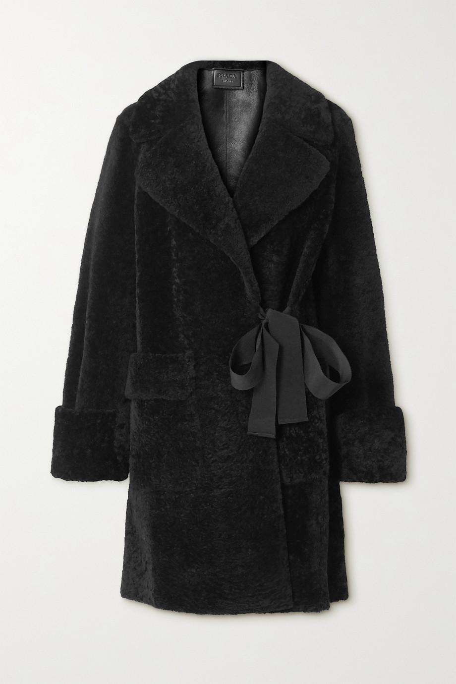 Prada Grosgrain-trimmed shearling coat