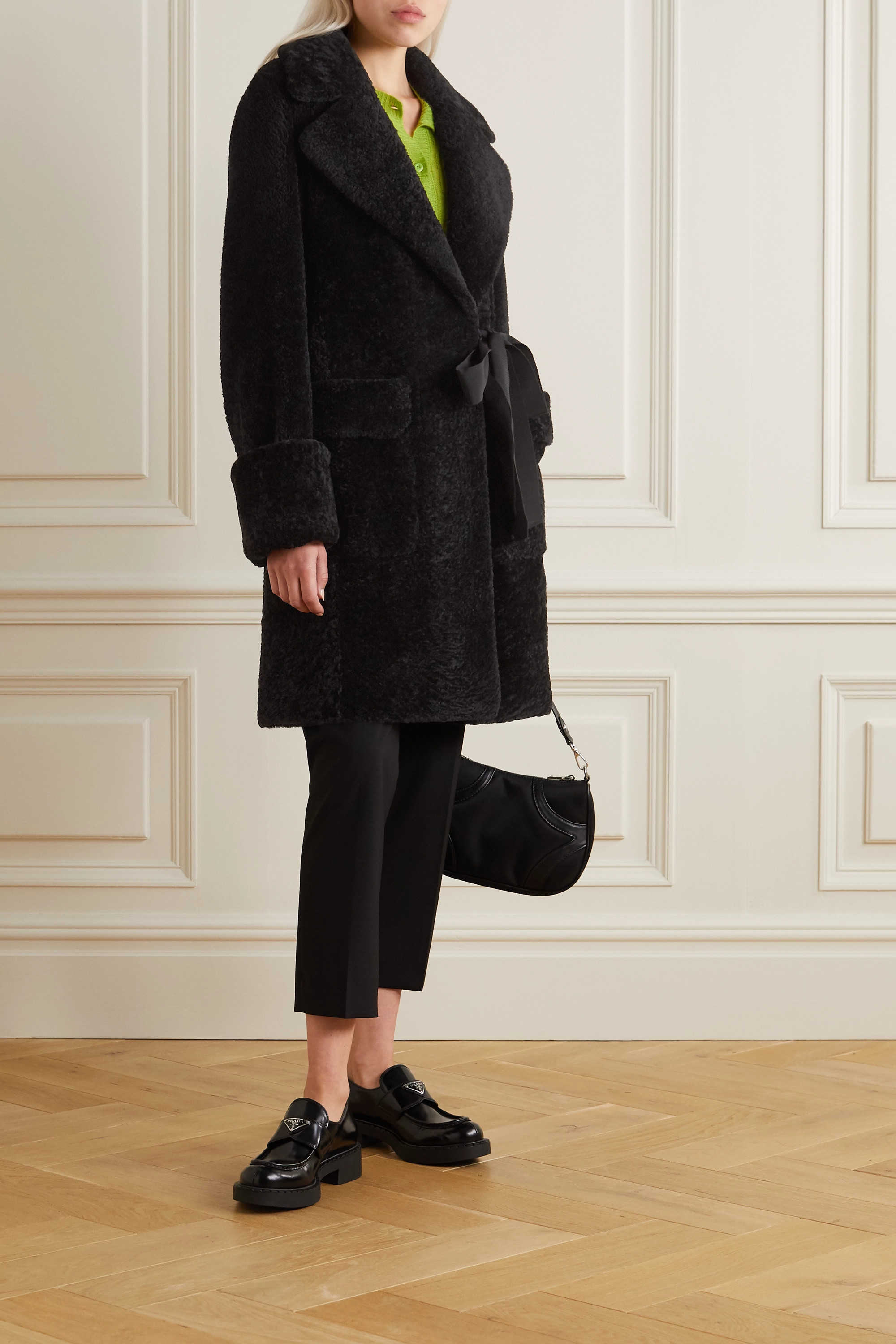 Prada Grosgrain-trimmed shearling coat