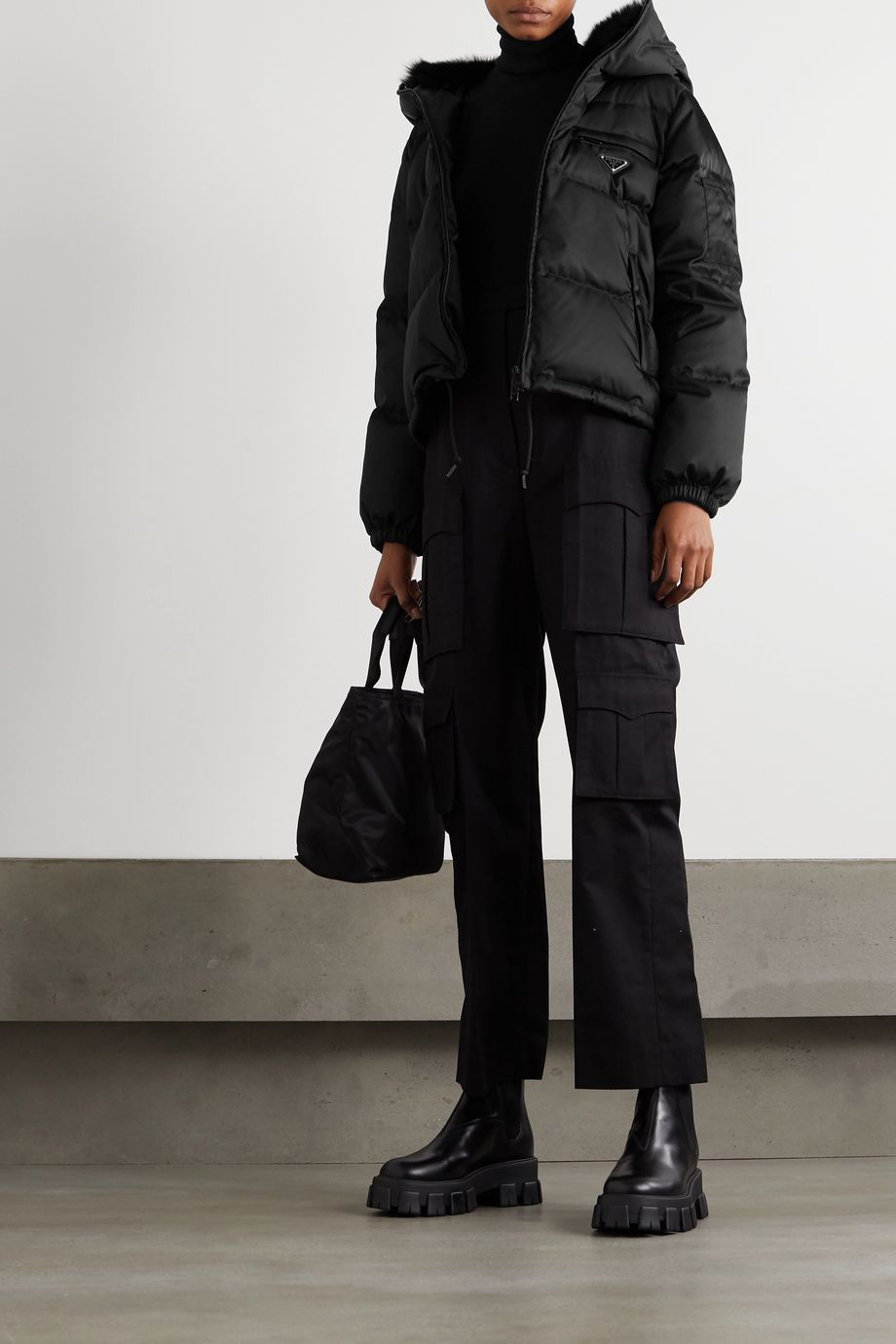 Prada Shearling-trimmed hooded quilted nylon down jacket