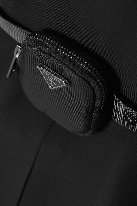 Black Belted Embellished Twill Mini Dress | Prada
