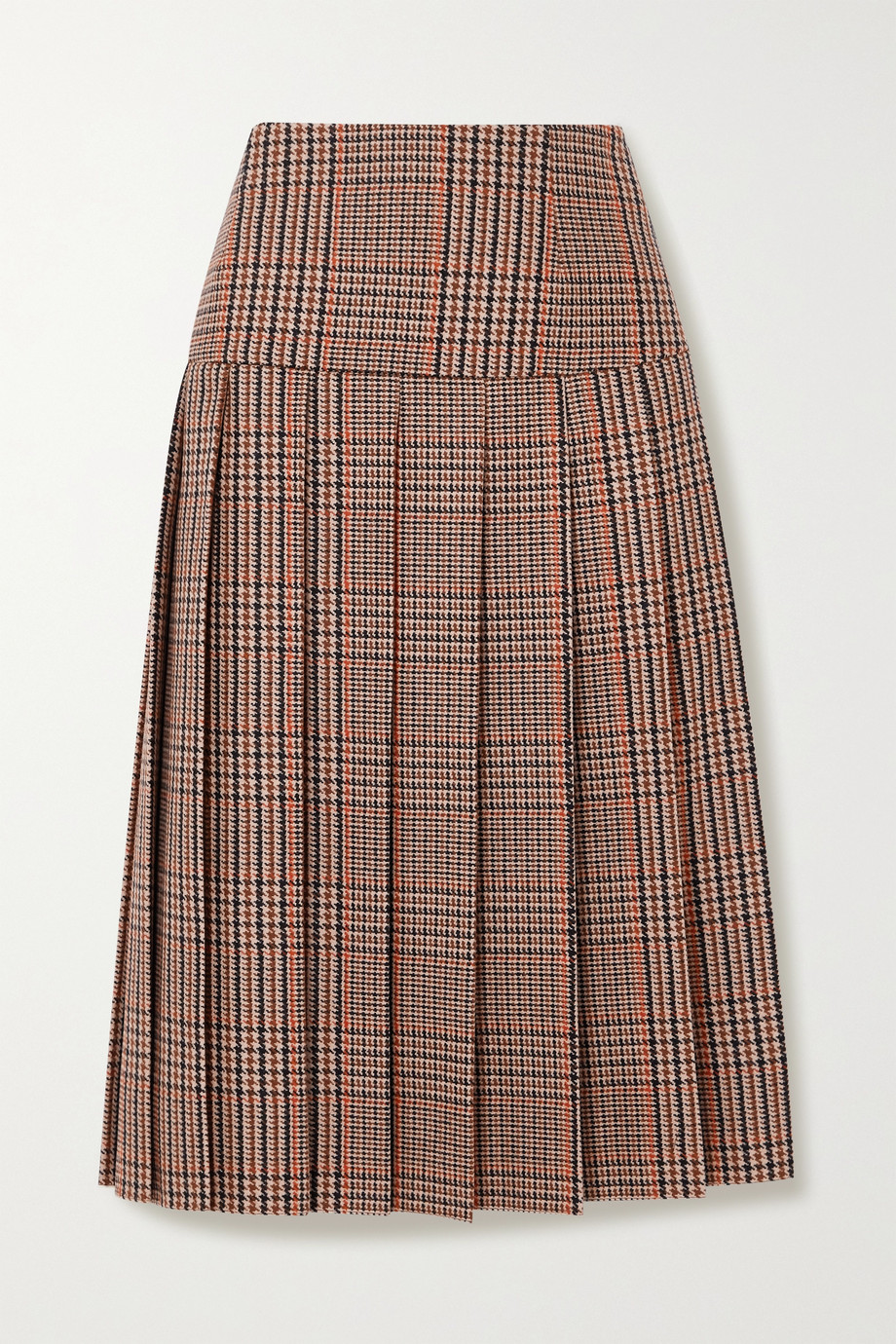 Prada Pleated checked wool and cashmere-blend tweed midi skirt