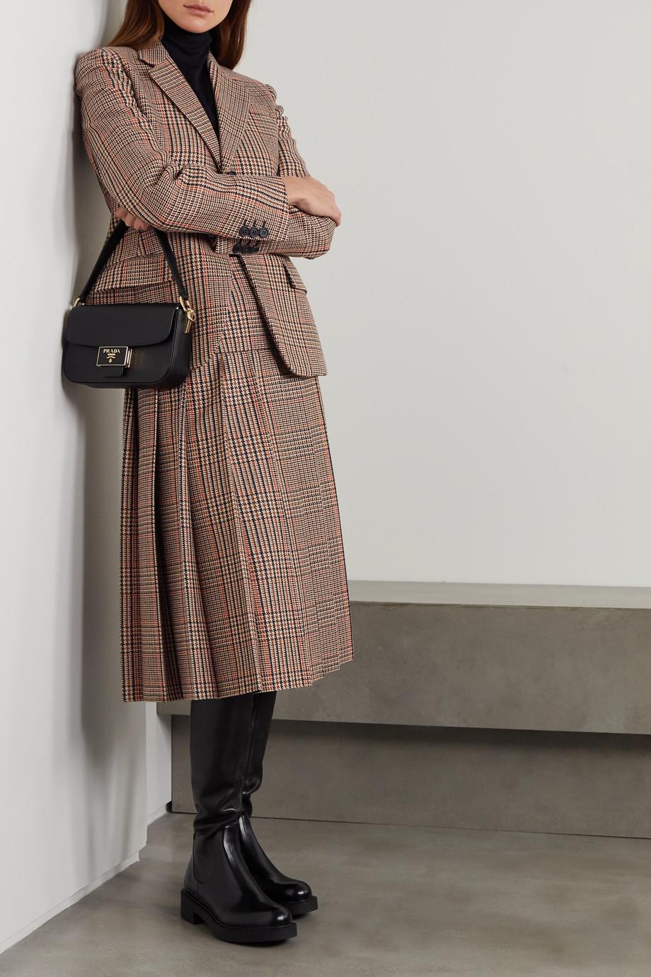 Prada Midirock aus Tweed aus einer Woll-Kaschmirmischung mit Karomuster und Falten