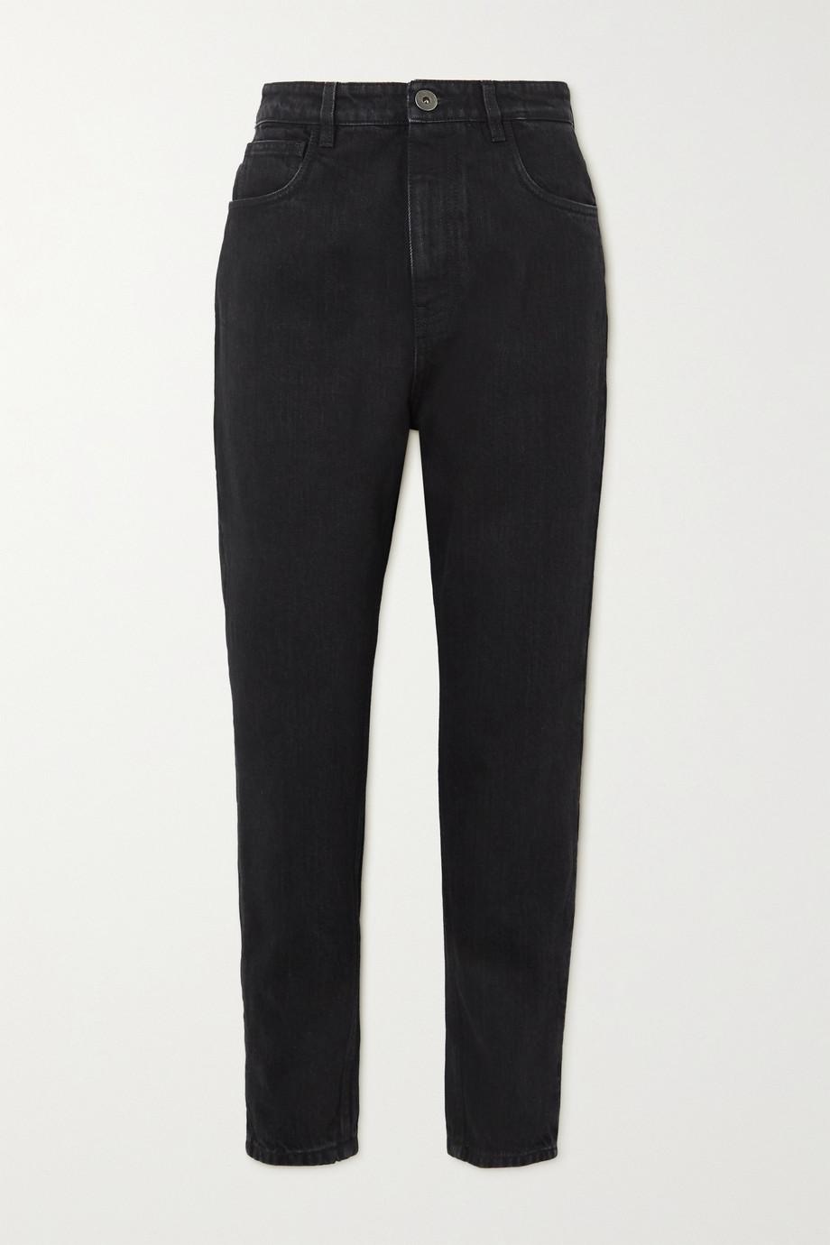 Prada Appliquéd cropped high-rise straight-leg jeans