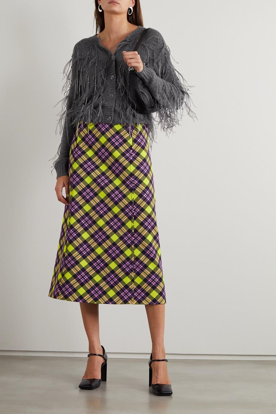 Prada Feather and bead-embellished cashmere cardigan