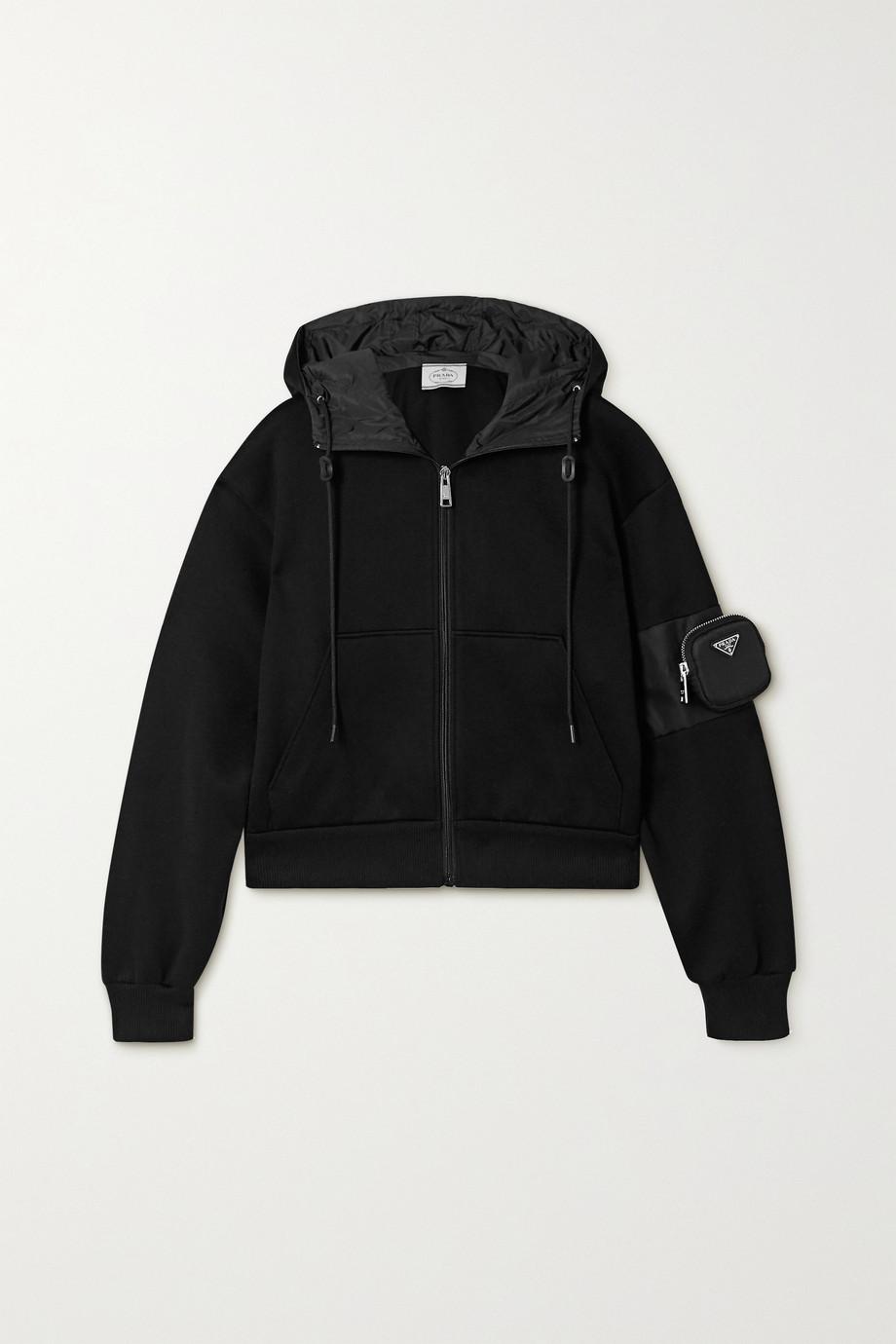 Prada Nylon-paneled cotton-blend jersey hoodie