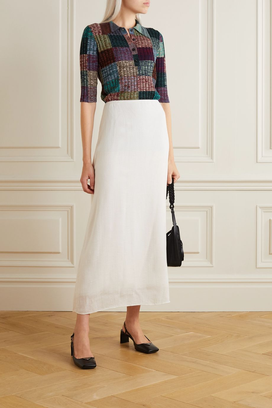 Prada Patchwork ribbed wool and silk-blend top