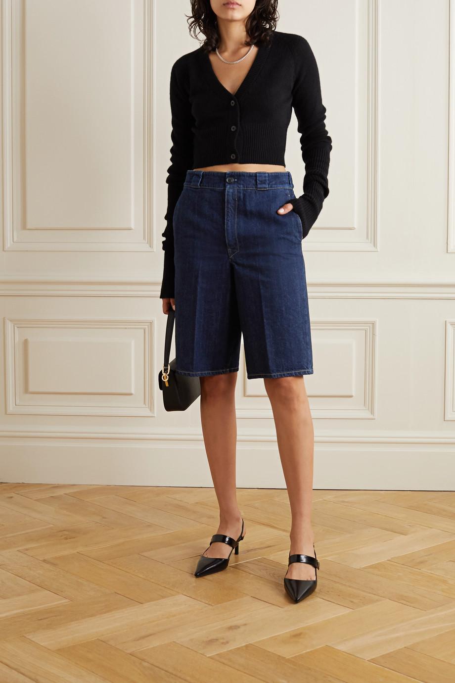 Prada Appliquéd denim shorts