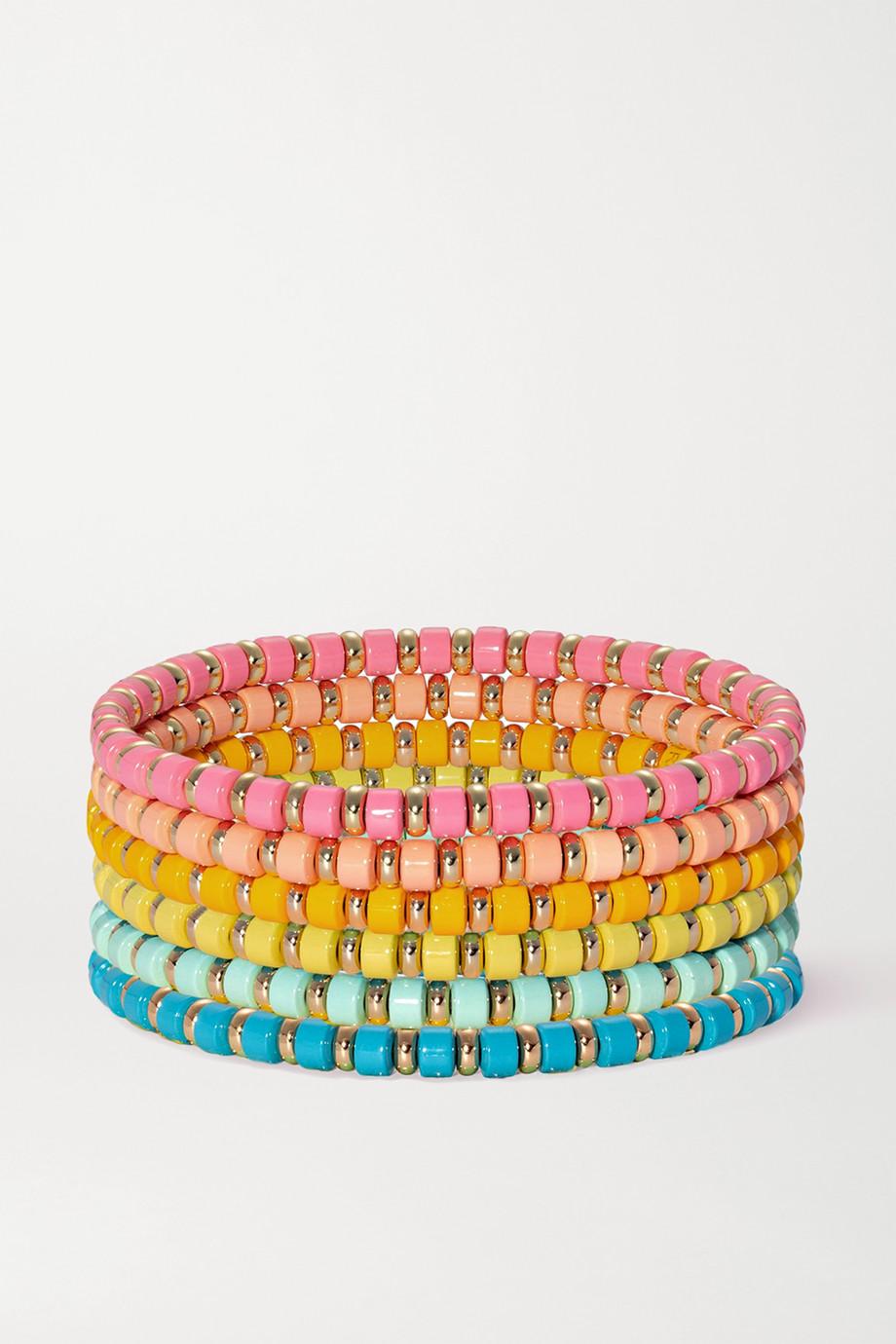 록산느 애슐린 팔찌 Roxanne Assoulin The Little Ones set of six enamel and gold-tone bracelets,Orange