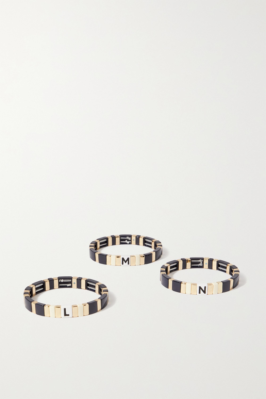 Navy Neutral Alphabet Soup Enamel And Gold-tone Bracelet | Roxanne Assoulin