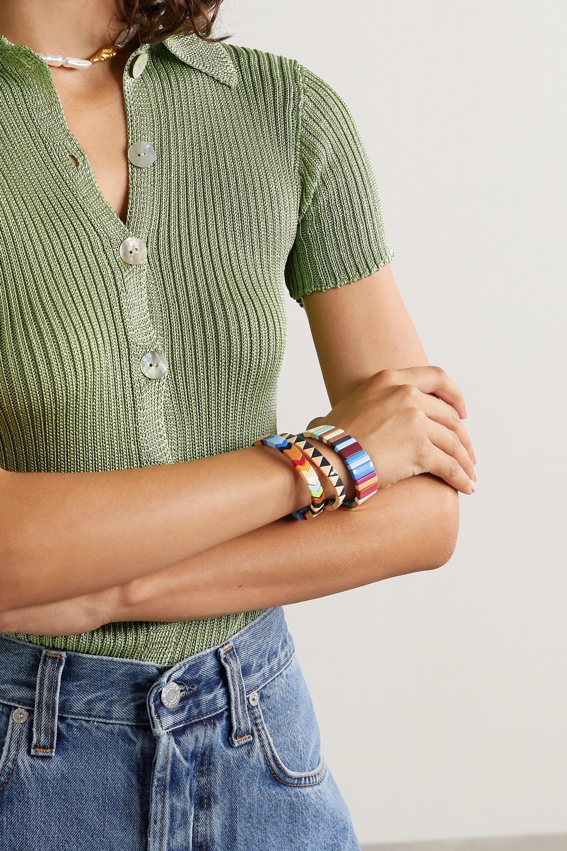 Roxanne Assoulin Grounded Rainbow Set aus drei Armbändern mit Emaille und goldfarbenen Details
