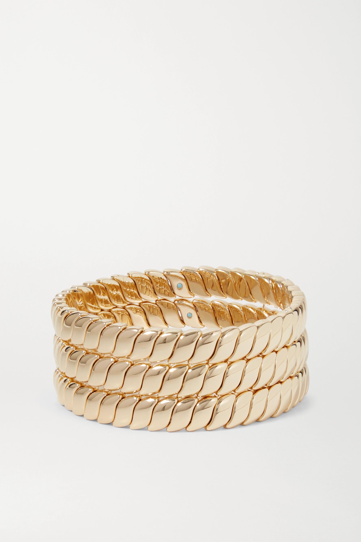 Roxanne Assoulin Simple Rope Set aus drei goldfarbenen Armbändern