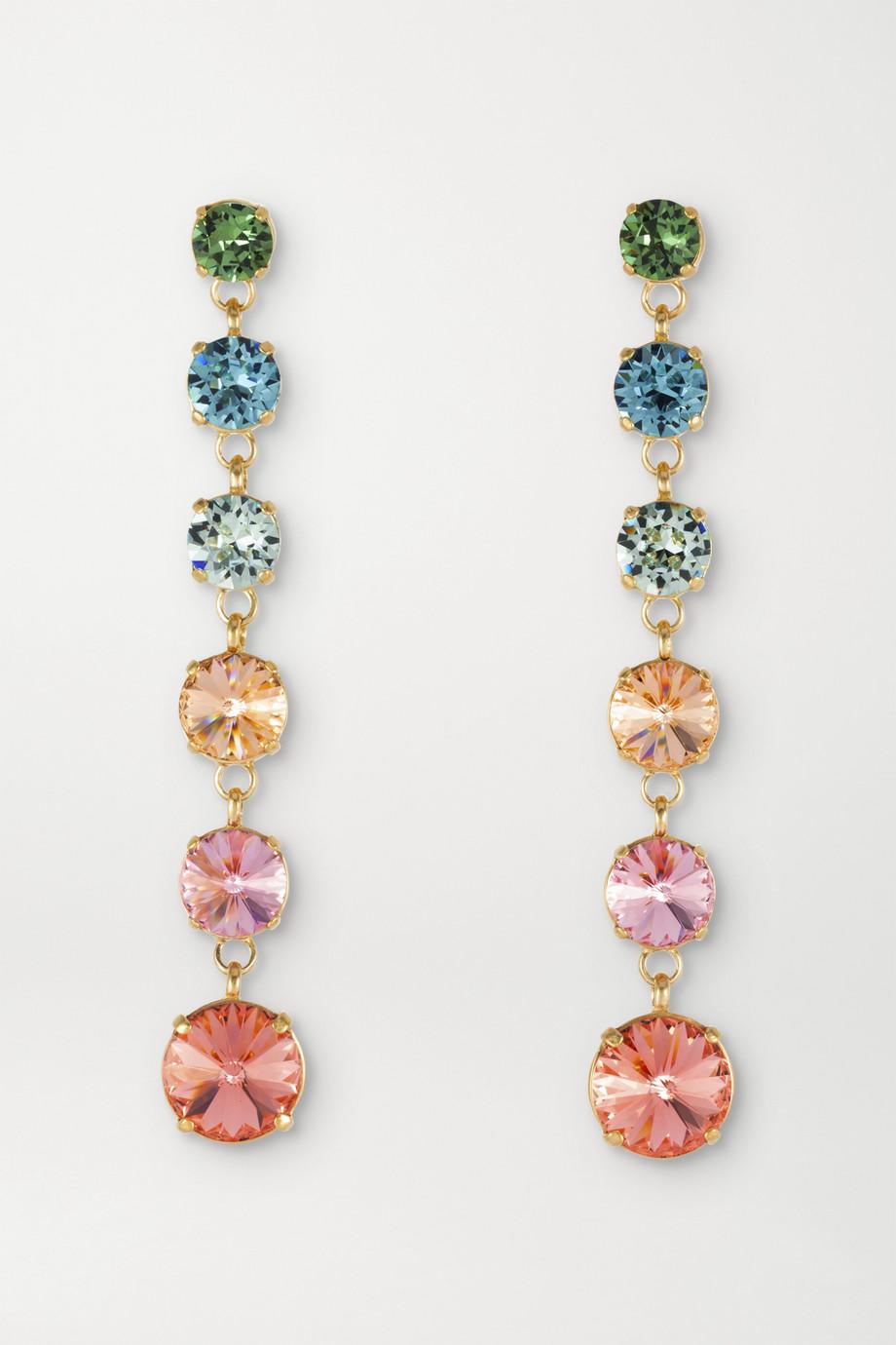 록산느 애슐린 드롭 귀걸이 Roxanne Assoulin Technicolor Mini Drip Drop gold-plated Swarovski crystal clip earrings,Pink