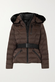 Goldbergh Soldis hooded belted faux fur-trimmed quilted down ski jacket