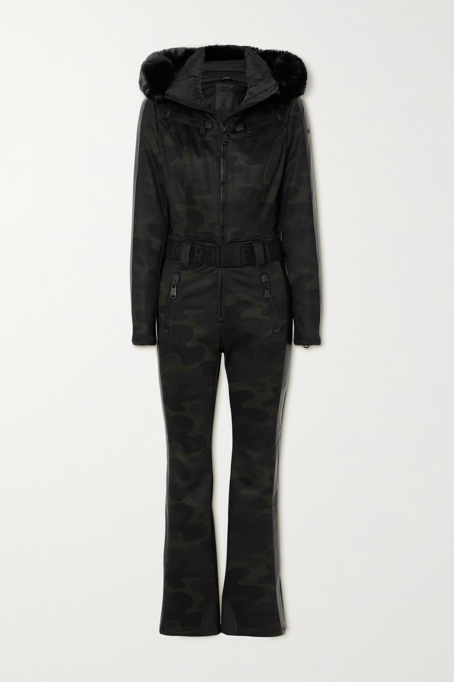 Goldbergh Bush faux fur-trimmed belted camouflage-print down ski suit