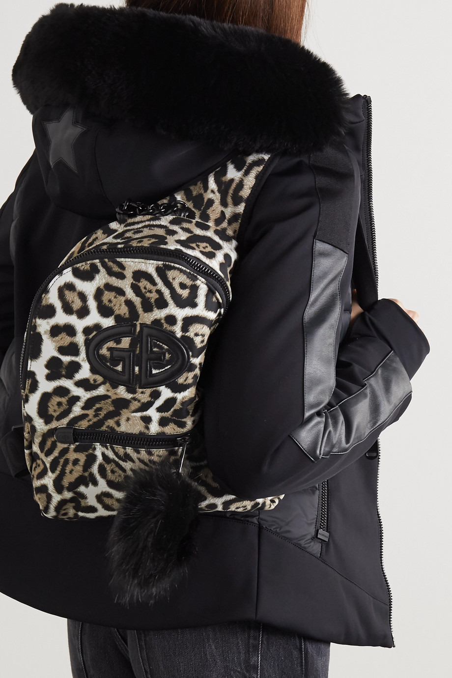 Goldbergh Handy faux fur and leather-trimmed leopard-print shell backpack