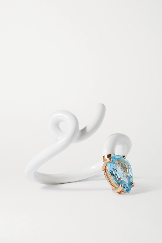 Bea Bongiasca Tendril 9-karat gold, sterling silver, enamel and topaz ring