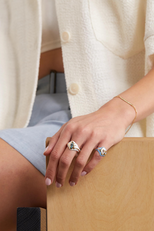 Bea Bongiasca Ring aus 9 Karat Gold mit Emaille und Topas