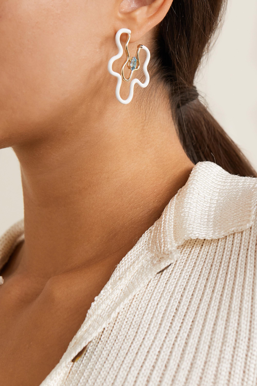 Bea Bongiasca Flower Power 9-karat gold, enamel and topaz earrings