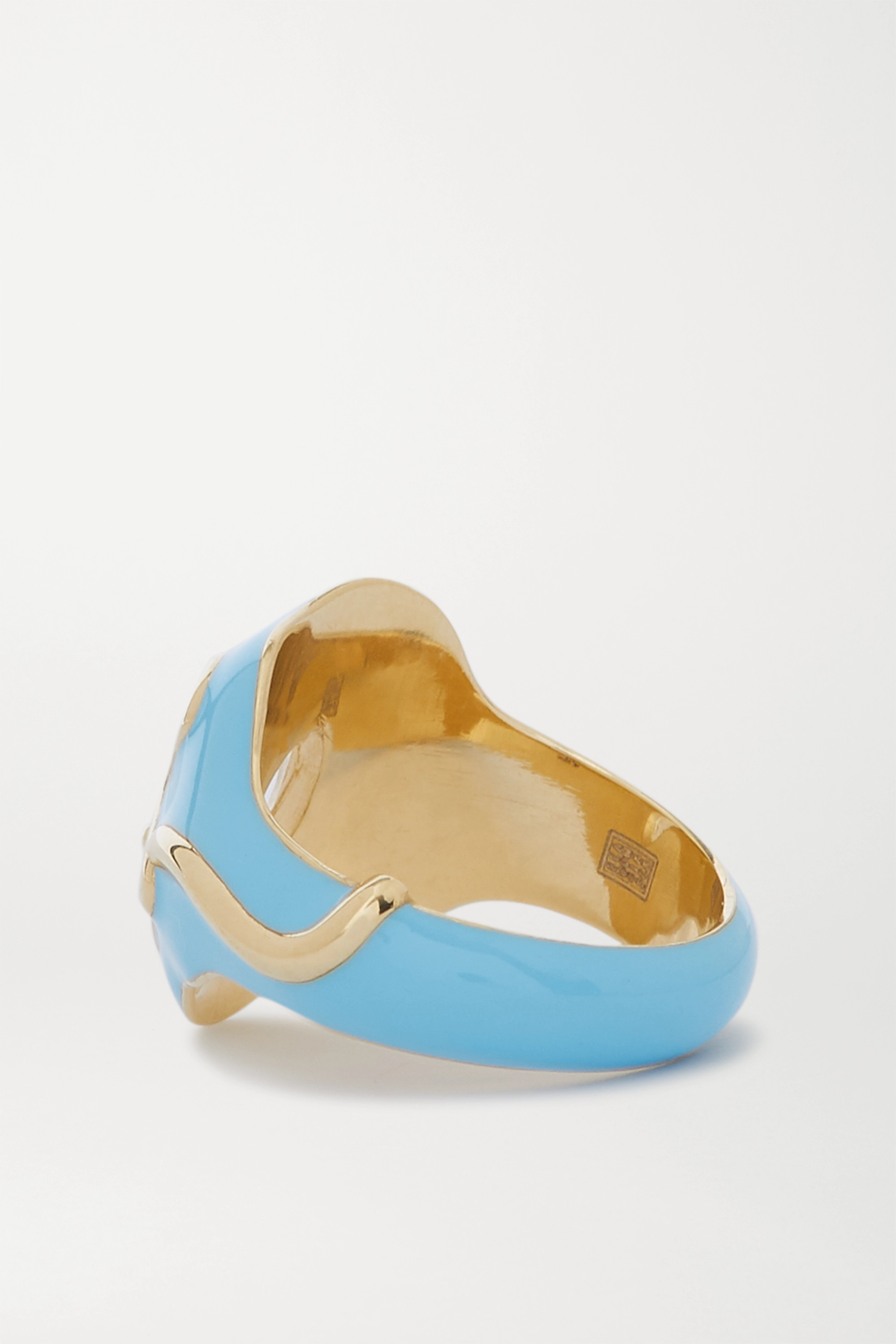 Bea Bongiasca 9-karat gold, enamel and rock crystal ring
